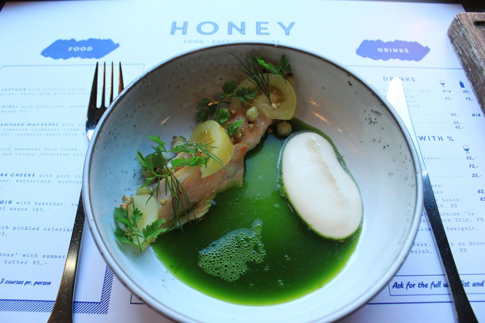 Digital detox trip in Copenhagen isn't complete without a meal at Honey - salmon with apple juice