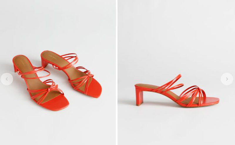 orange strappy knotted heeled sandals summer squared-toe shoes trend 2019