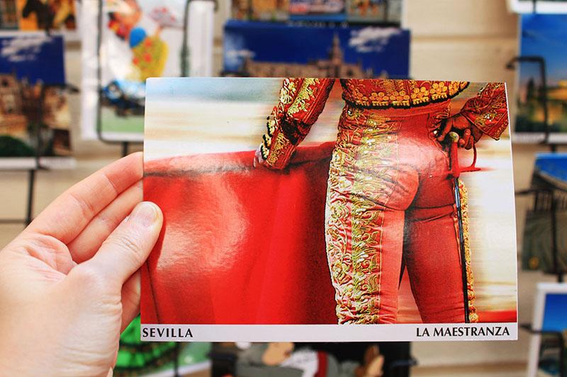sevilla matador red clothes sexy ass postcard spain memento