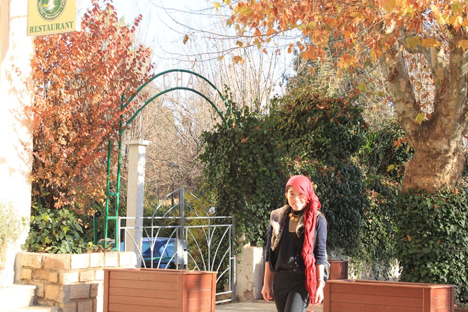Ifrane morocco atlas mountains solo traveler female asian girl posing stylish red scarf black clothes agirlnamedclara autumn fall