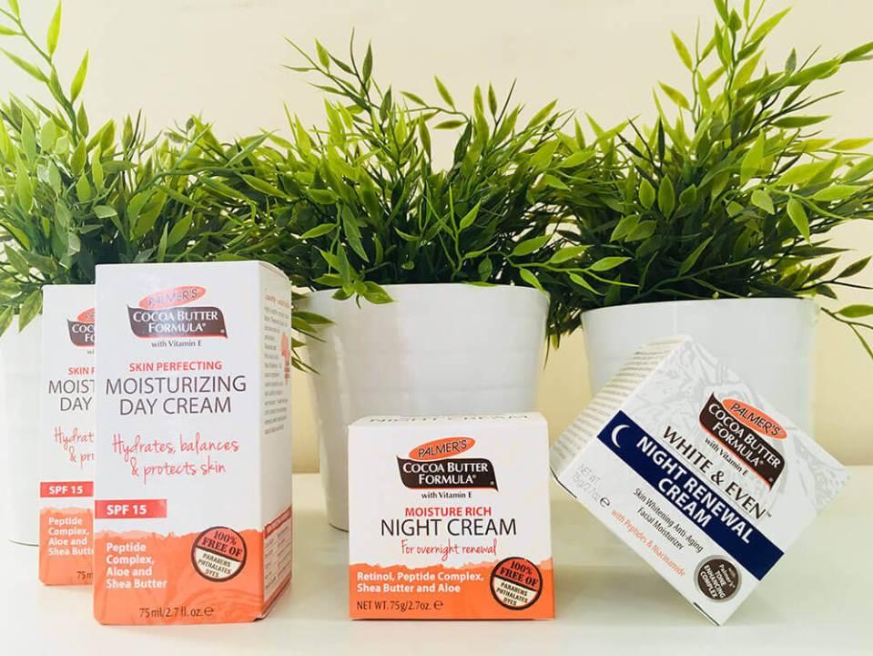 agirlnamedclara palmer's cocoa butter skin perfecting moisturising day cream, moisture rich night cream, white & even night renewal cream