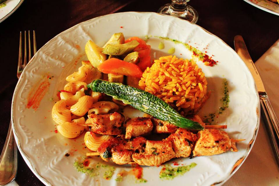 turmeric rice chicken kebab macaroni local food morocco travel agirlnamedclara