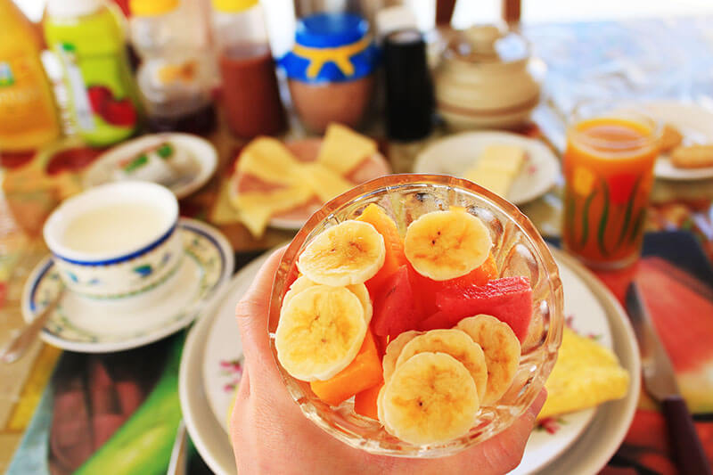 fruit bowl banana watermelon cuba breakfast rooftop virtual tour stay at home_agirlnamedclara