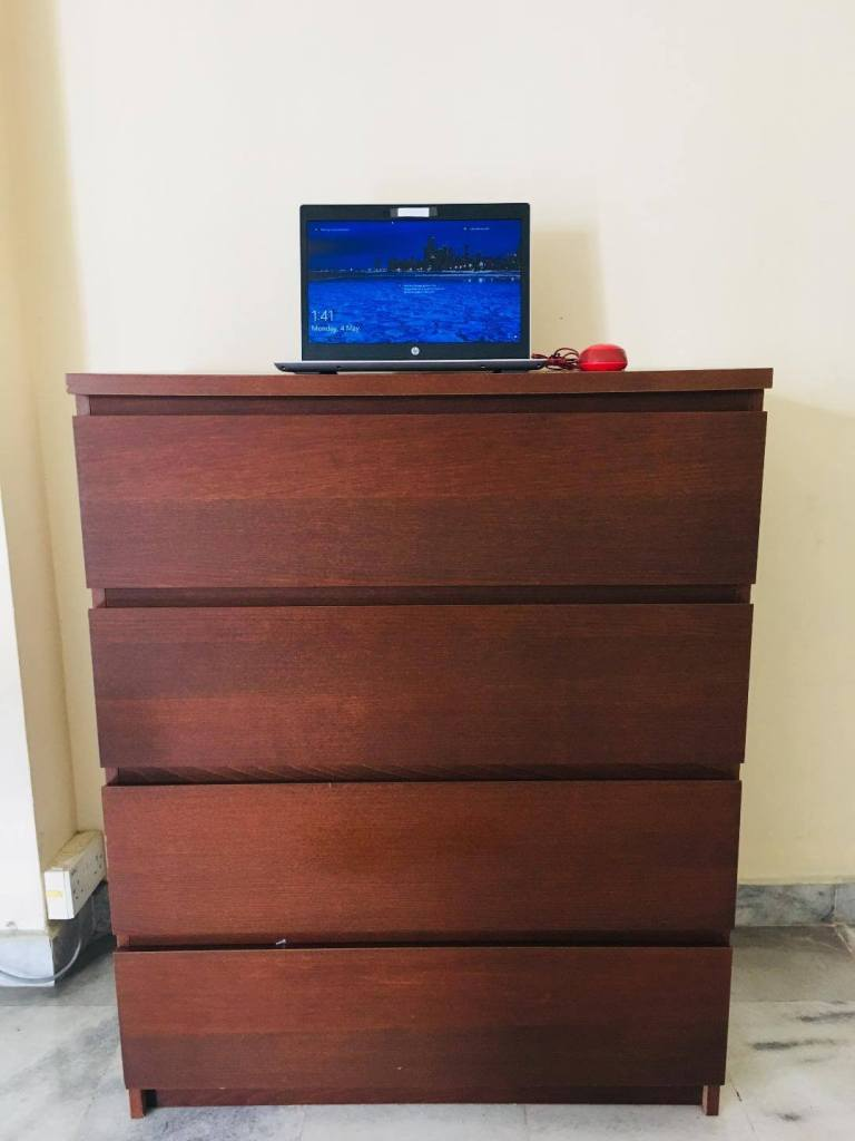 standing desk made of wooden chest of drawers dark colour_agirlnamedclara