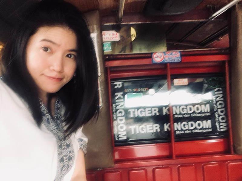 asian girl black hair smile inside red mini truck taxi chiang mai thailand_agirlnamedclara