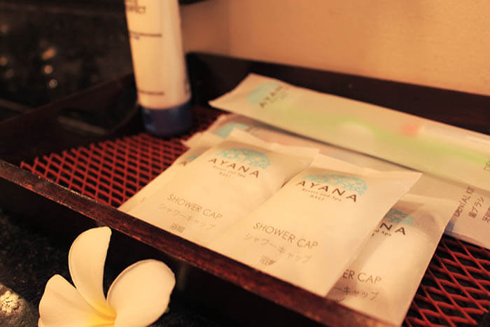 ayana resort and spa bali toiletries shower cap toothbrush changing room_agirlnamedclara