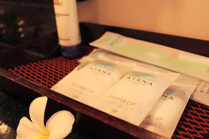 ayana resort and spa bali toiletries shower cap toothbrush changing room_agirlnamedclara