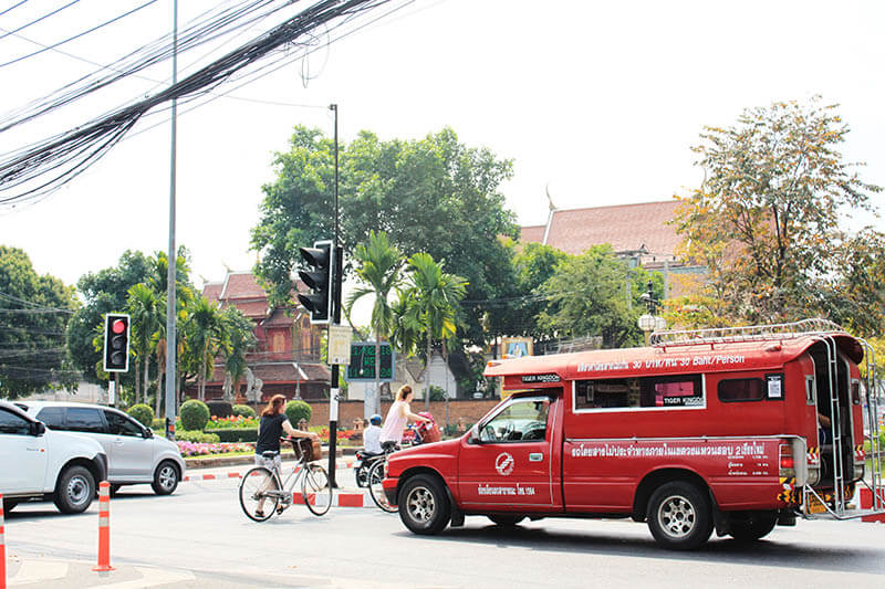 red mini truck taxi chiang mai thailand on the road_agirlnamedclara