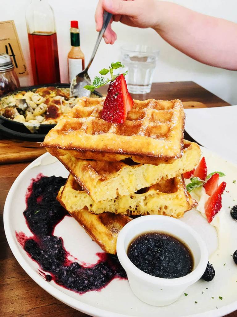 crispy waffle with strawberry blueberry maple syrup cream cheese kenny hills bakers ampang_agirlnamedclara