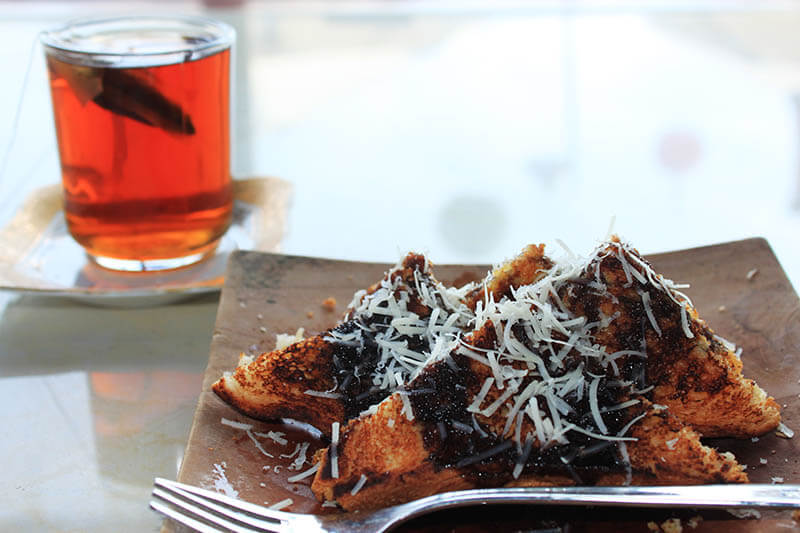 roti bakar coklat susu keju toast with milk cheese chocolate tea time_agirlnamedclara