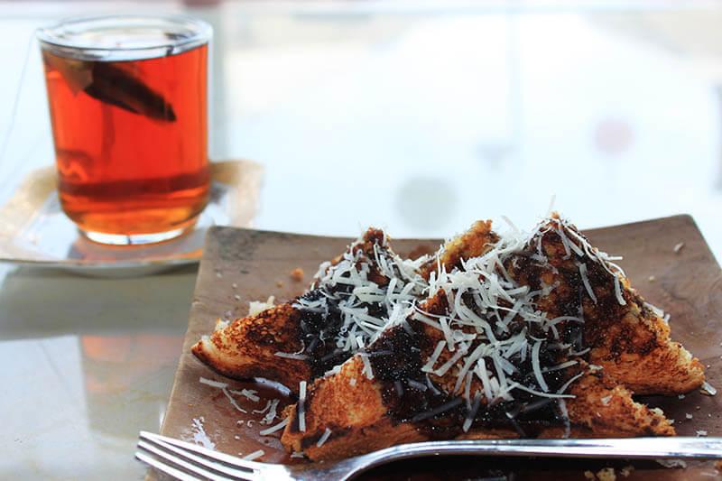 roti bakar coklat susu keju toast with milk cheese chocolate tea time_agirlnamedclara