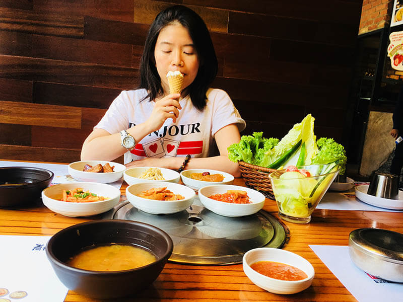 girl eats ice cream korean restaurant side dishes qing he gu damansara uptown pj_agirlnamedclara