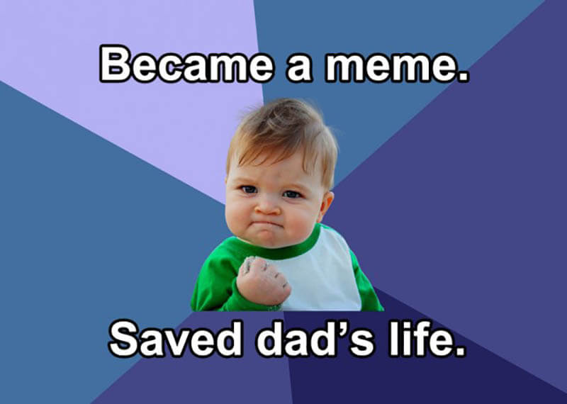 success kid saves dad's life kidney meme_agirlnamedclara