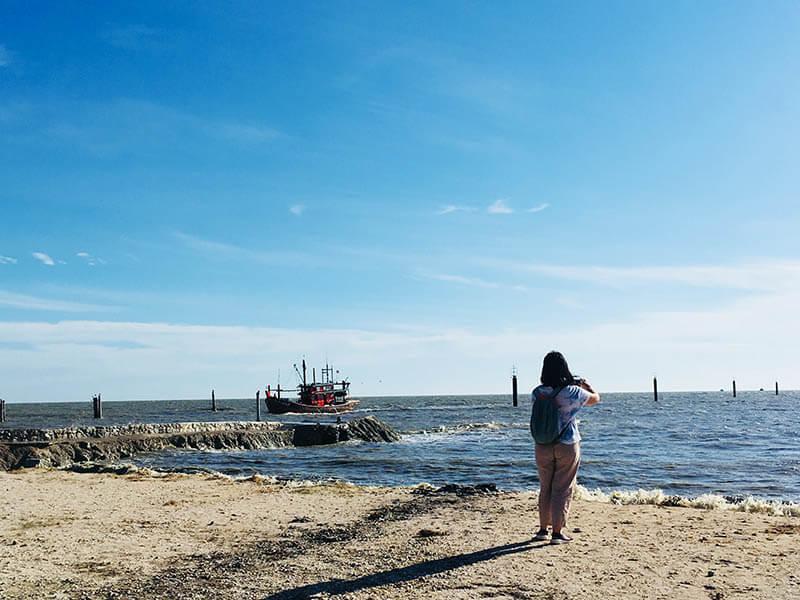 girl take photo of the sea pantai redang beach sekinchan agirlnamedclara blue sky