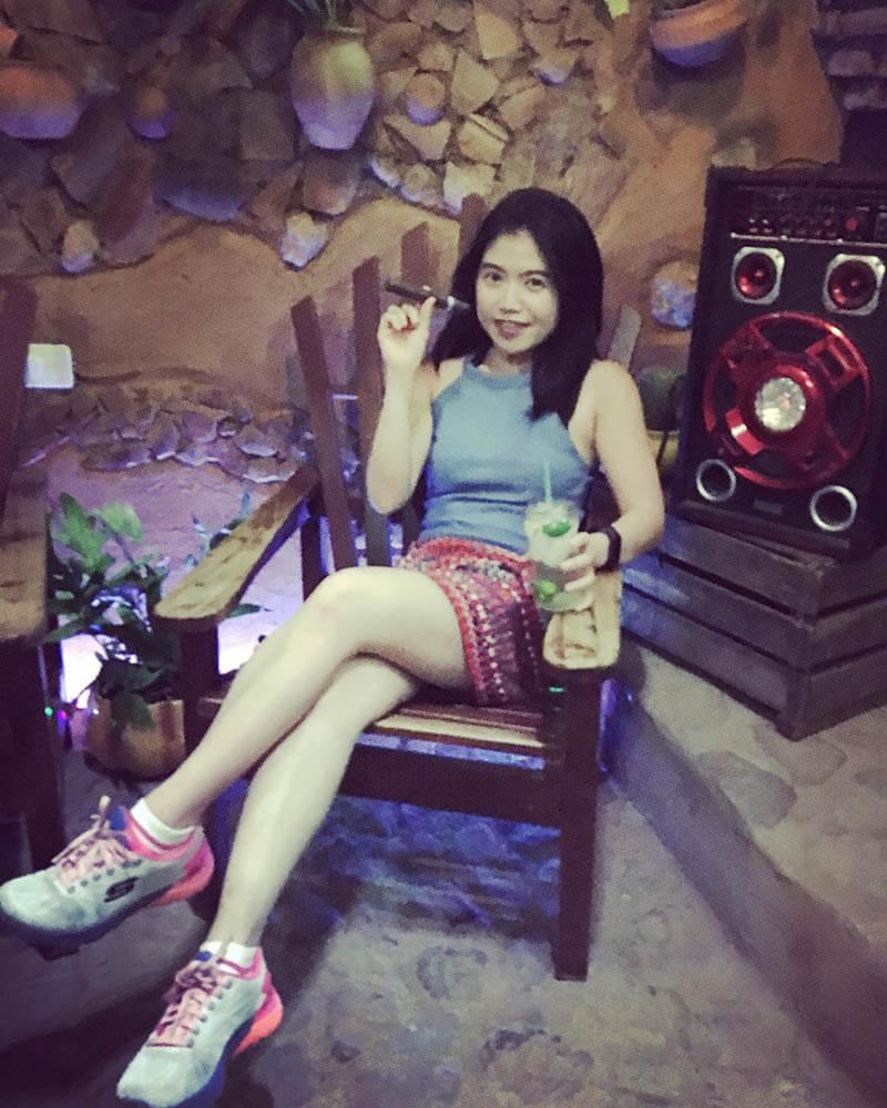 asian girl sit cocktail mojito cigar trinidad cuba agirlnamedclara