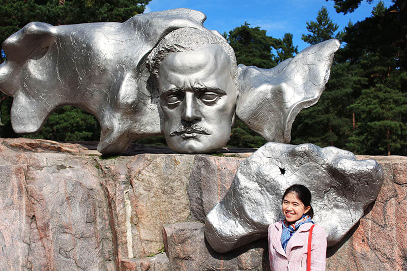 girl traveler tourist pose jean sibelius art monument helsinki finland agirlnamedclara