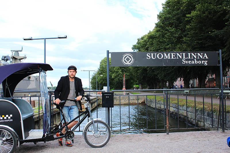 rickshaw bicycle man suomenlinna tour unesco helsinki agirlnamedclara