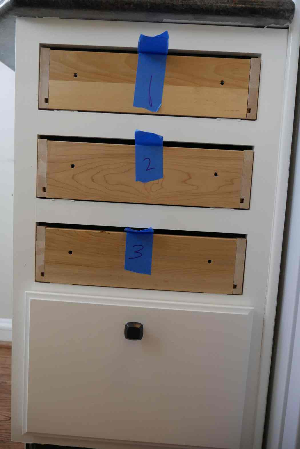 numbered cabinet drawers during renovation