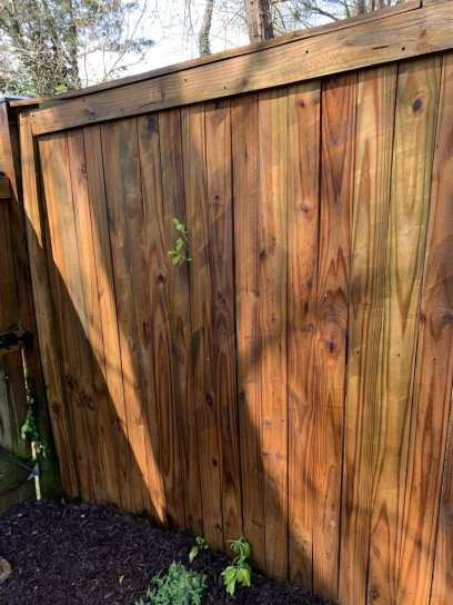 power washed fence with streak marks