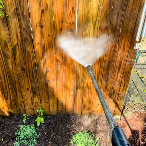 power washing the fence