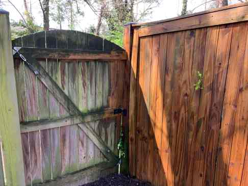 power washing the fence before and after