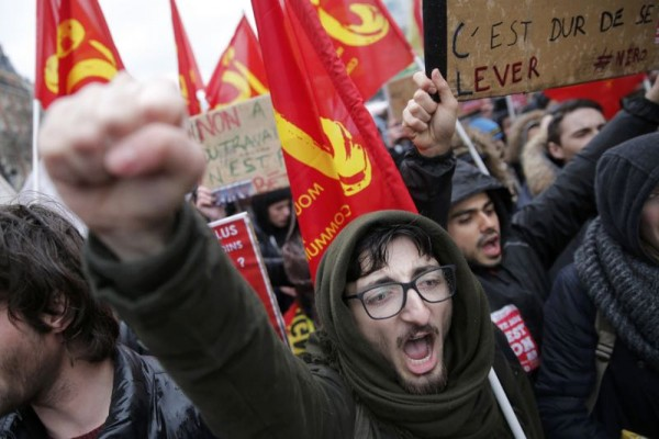 French high school and university students attend a demonstration against the French labour law proposal in Paris
