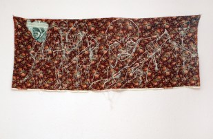 CHILD SOLDIERS / newspaper sewing fabric on textile / 60x160 cm / 2005