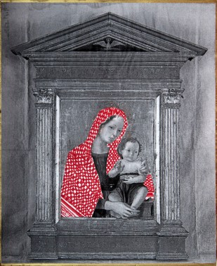 PALESTINIAN MADONNA / (A. Romano) drawing on photocopy, glued on wood / 2010
