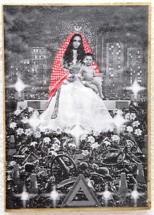 PALESTINIAN MADONNA (Pierre Gilles) / drawing on photocopy, glued on wood / 2010