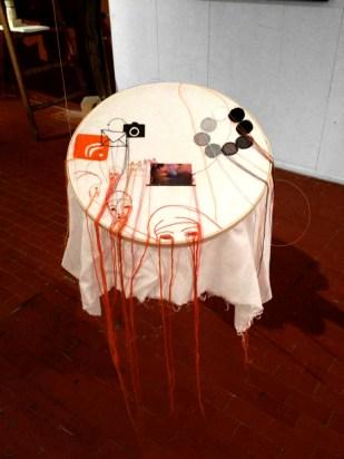 UTOPIA AND REGRESSION ORANGE / printed videostill sewn on fabric / 50x50x60 cm / 2012