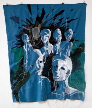 WAR II / newspaper sewing fabric on textile / 137x117 cm / 2007