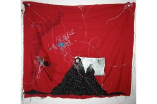WOMEN IN MIDDLE EAST / photography from internet of Alexandra Boulat print on transfer sewing on fabric / 105x90 cm / 2008