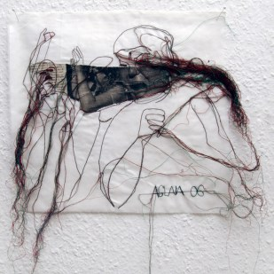 FILI DI ATTUALITA#14 / newspaper sewing on fabric / 30×30 cm / 2006-2010