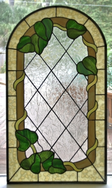 Stained glass Ivy window panel