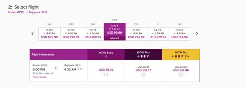 WOW Air Iceland $99