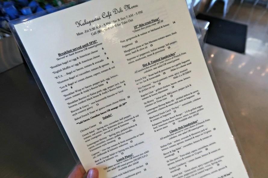 Kalapawai Cafe Menu