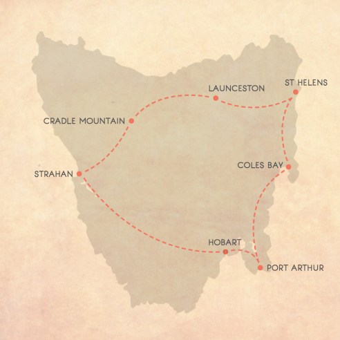 Tasmanian Road Trip Map, 10 days