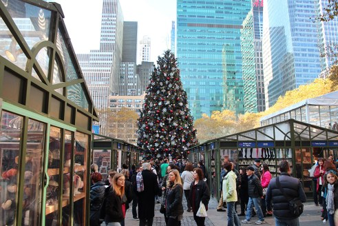 Holiday market in Bryant Park, New York City