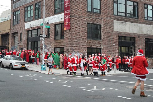 People dressed for Santacon in Brooklyn, NYC