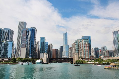 Chicago city skyline from an architecture river cruise