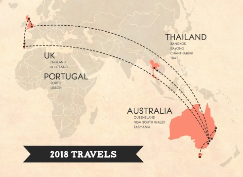 A Globe Well Travelled, 2018 Travel Map