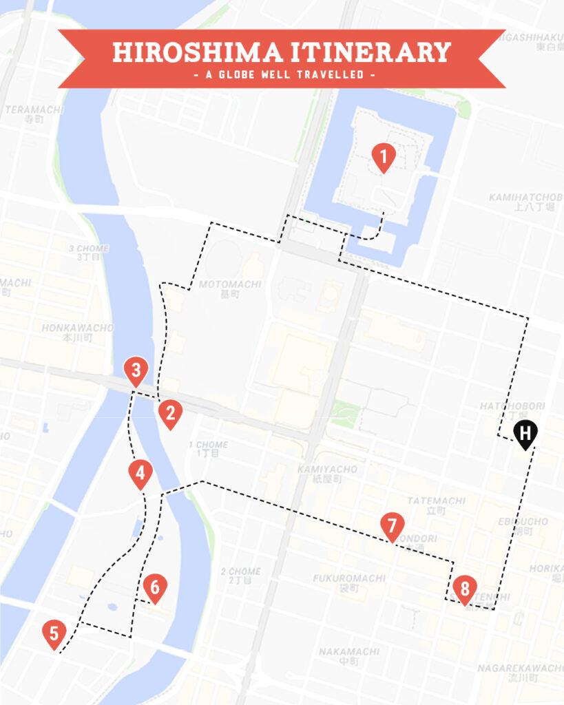 Hiroshima walking tour map