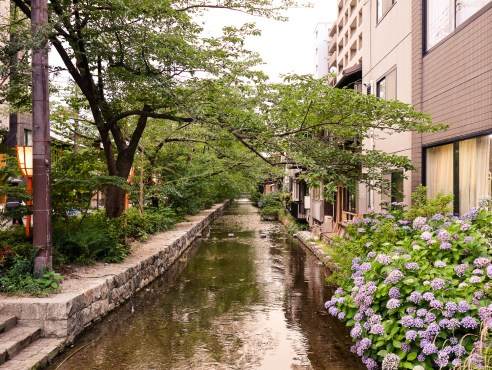 Canal at Kiyamachi-dori, Kyoto, Japan