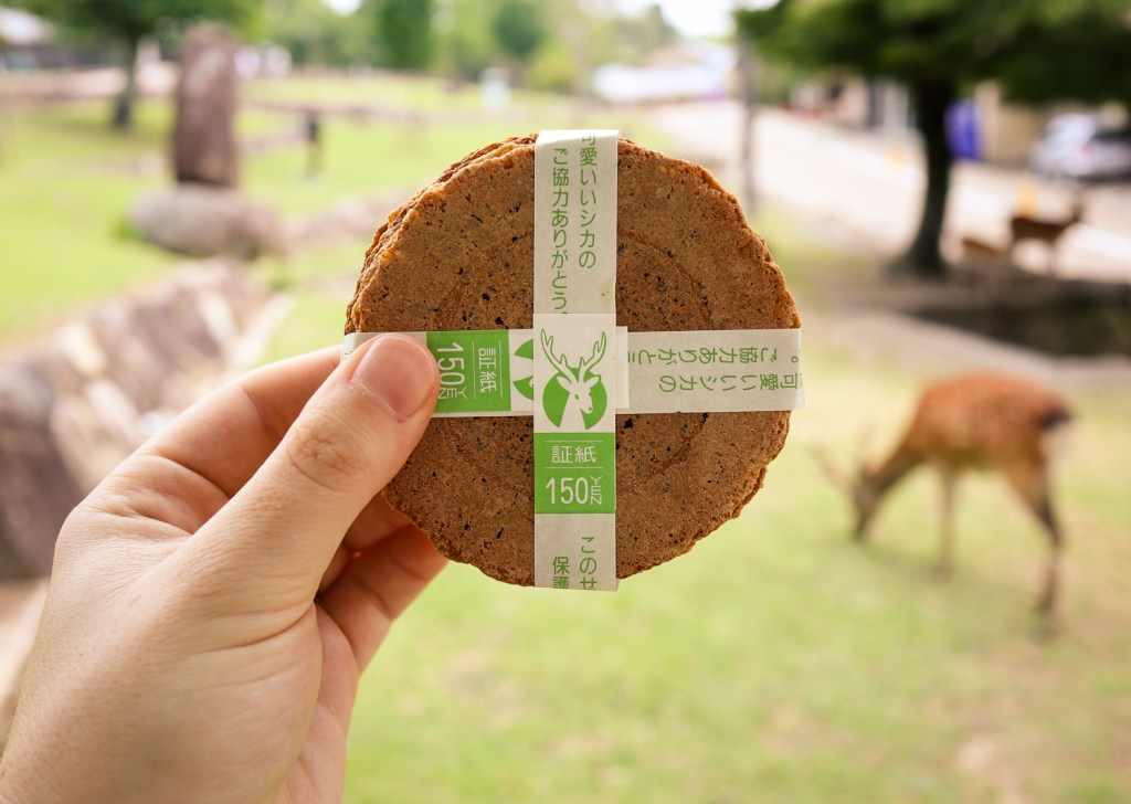 Deer snacks in Nara Park, Japan