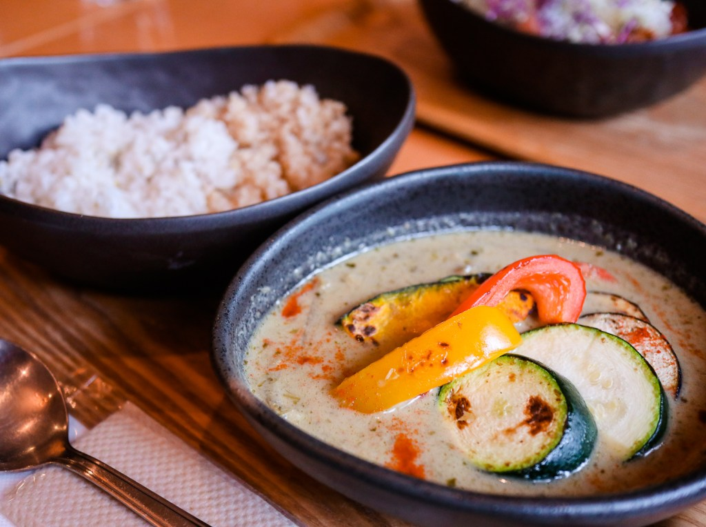 Green curry dish with rice, Kyoto, Japan