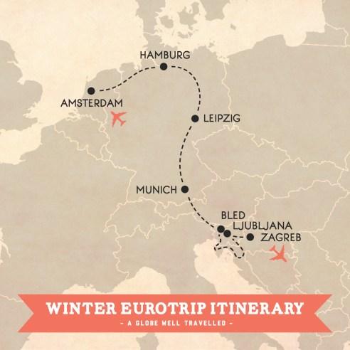 Winter Eurotrip itinerary map - Amsterdam to Zagreb