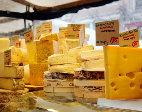 Dutch cheese at a market in Amsterdam