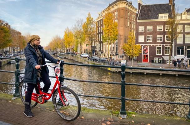 Riding a bike in Amsterdam