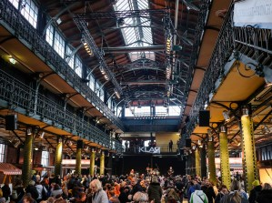 The inside of Altonaer Fischauktionshalle in Hamburg