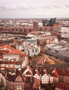 View of Elbphilharmonie from St Michael's Church in Hamburg